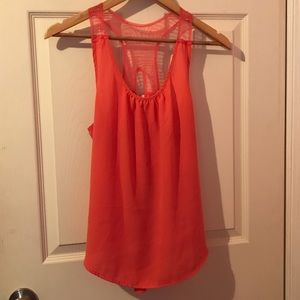Coral Pink Sleeveless Asymmetrical Top beaded back